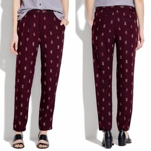Madewell Delancey Slouch Ikat Trousers Burgundy